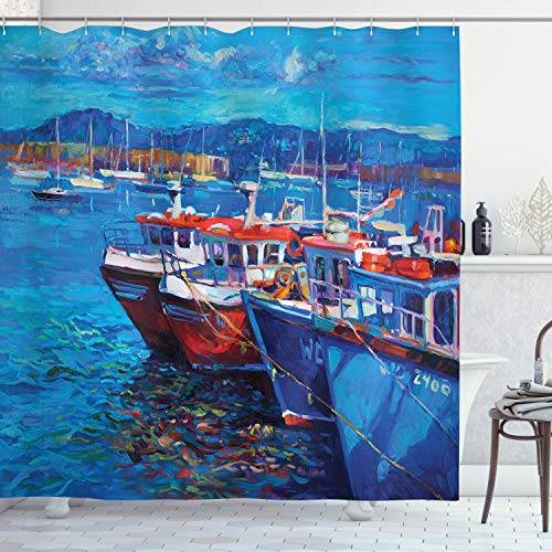 """Ambesonne Country Shower Curtain, Sail Boats Ships on The Shore Harbor by The Sea Small Rural Fishing Town Artwork, Cloth Fabric Bathroom Decor Set with Hooks, 84"""" Long Extra, Navy Red"""