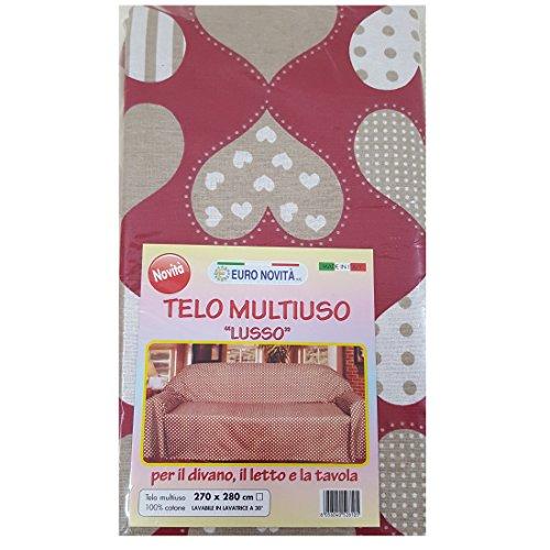 Euronovità Srl Telo arredo copridivano copriletto copritutto Rosso con Cuore Tortora 270x280 cm in Cotone granfoulard 100% Made in Italy Produzione Propria EURONOVITA'