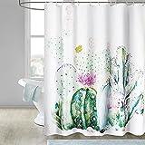Cortina de ducha de 180 x 200 cm, diseño de hojas verdes, flores y plantas, resistente al agua, tela antimoho, poliéster, lavable, dobladillo pesado, cortina de ducha con 12 anillas para bañera y baño