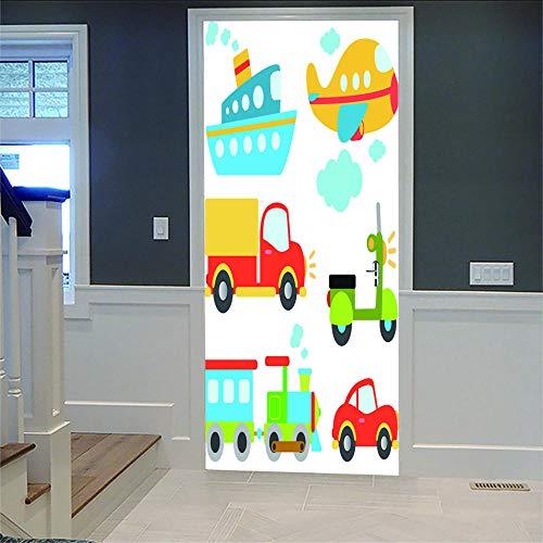 No brand 3D Hd deursticker auto, boot, vliegtuig, zelfklevend, waterdicht PVC, afneembare deurposter voor woonkamer, keuken, badkamer, slaapkamer, deur, art decoratie, wandschildering, 77 x 200 cm