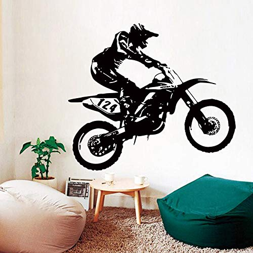 Wall Sticker TAOtTAO 53 cm * 60 cmMotorrad Motocross Wandaufkleber Kunst Zimmer Removable Decals