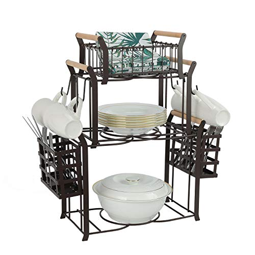 TQVAI 3 Tier Buffet Caddy(Set of 9) Napkin Plate Utensils Organizer with 4 Mugs Hooks - Ideal for Kitchen, Dining, Entertaining, Parties, Picnics, Brown