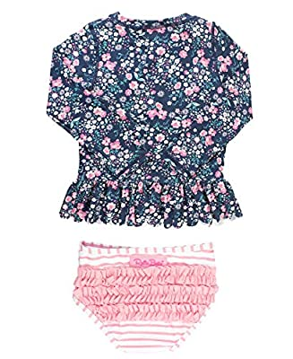 RuffleButts Baby/Toddler Girls Moonlit Meadow Peplum Long Sleeve Rash Guard Bikini - 12-18m