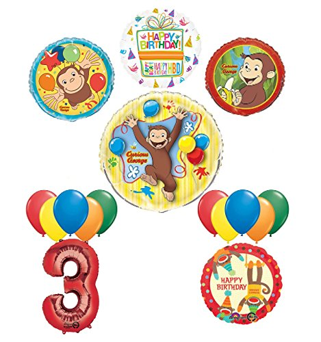 Mayflower Products The Ultimate 16pc Curious George 3rd birthday party Supplies and Balloon Decorations