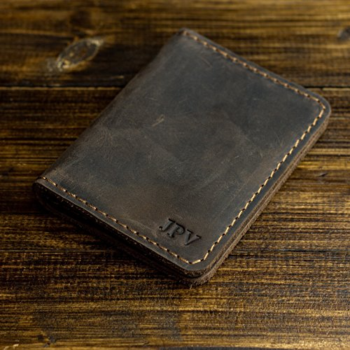 Pegai Personalized Rustic Leather Wallet - Unique Personalized Gift for Him - Handcrafted Rustic Minimalist Top Grain Cow Leather Wallet - Knox | Chestnut Brown