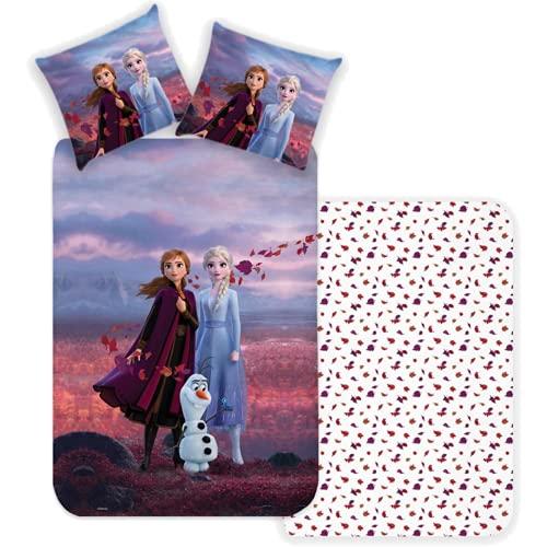 SkyBrands Biancheria da letto Frozen 135 x 200 cm 80 x 80 cm [motivo double-face] cotone | Biancheria da letto per ragazze Elsa Anna ÖKO-TEX Standard Tedesco