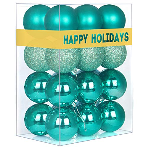 GameXcel 24Pcs Christmas Balls Ornaments for Xmas Tree - Shatterproof Christmas Tree Decorations Large Hanging Ball Teal 2.5' x 24 Pack