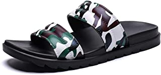 Bin Zhang Fashion Summer Sport Pool Slides for Men Indoor Outdoor Slippers Slip on Synthetic Leather Camouflage Lightweight (Color : Brown, Size : 6.5 UK)