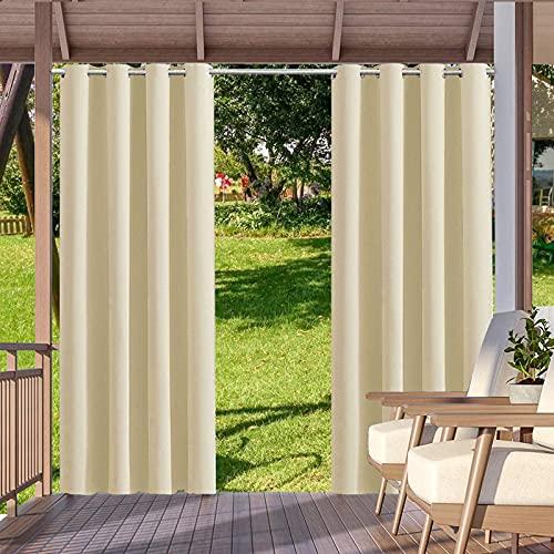 Outdoor Vorhänge mit Ösen, Blickdicht Thermisch Isoliert UV Schutz Vorhänge, Wasserdicht & Winddicht, Outdoor Vorhang für Garten Terrasse Pavillon Veranda Balkon - 1 Stück (132 x 215 cm, Beige)