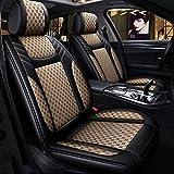 Car Seat Covers en, asientos de cuero Fit 5 asientos del coche parte posterior del frente del conjunto completo universal del interior del coche cuatro estaciones del amortiguador de asiento,D