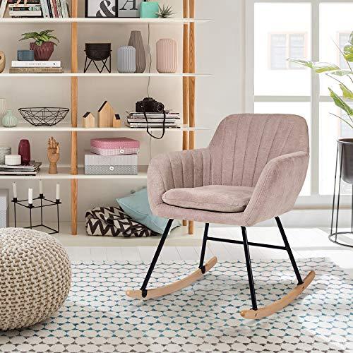 FurnitureR Mecedora tapizada, Mecedora de diseño Moderno Sillón con Respaldo Grueso, cómodo Asiento Acolchado de Tela basculante y...