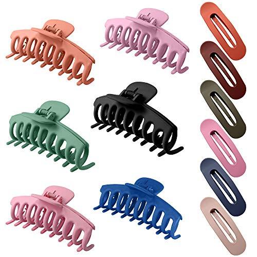 AODOOR 6 Stück Große Haarklammer, Klaue Clips Haarspangen Haarklammer Damen rutschfeste Haarnadel, mit 6 Stück Ovale Haarspange für Damen, Haarklammer Starker Halt Large Klassisch Multifarben