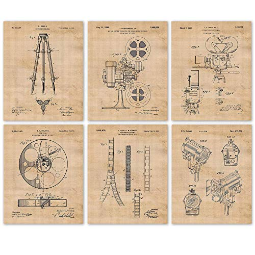 Vintage Video Filmmaking Production Equipments Patent Art Poster Prints, Set of 6 (8x10) Unframed Photos, Wall Arts Decor Gifts Under 20 for Home, Office, Garage, Man Cave, College Student, Teacher