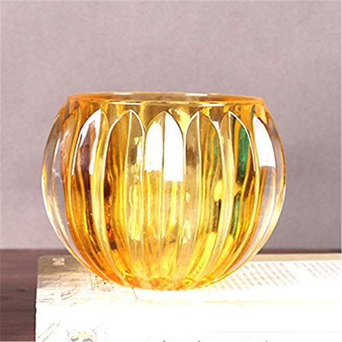 Candeleros Portavelas de vidrio transparente, vidrio de borosilicato, chimenea de vidrio para la luz casera del té Decoración de regalos de velas ( Color : Amarillo , tamaño : 11*15*15cm )