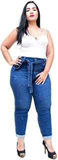 Calça Jeans Cambos Plus Size Skinny Cropped Crystiane Azul