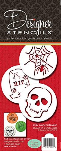 Designer Schablonen C457Scary Halloween Cookie Schablone Set, (Spider Web, Totenkopf, Grabstein), beige/halbtransparent