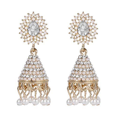 Joyería Conijiwadi 1 par Indio Retro Campana Pendientes de Perlas de Cristal Colgante Gota del oído del Perno Prisionero de Las Mujeres Muchachas de la Boda del Partido cuelgan