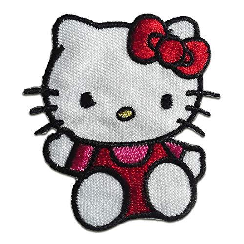 Aufnäher/Bügelbild - Hello Kitty sitzend Kinder - rot - 6,4x5,8cm - Patch Aufbügler Applikationen zum aufbügeln Applikation Patches Flicken