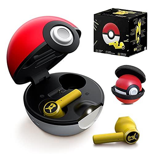 Casque Bluetooth sans fil Pokemon Écouteurs intra-auriculaires étanches Pokémon Écouteurs auriculaires Pikachu TWS, réduction du bruit, contrôle tactile, écouteurs avec étui de chargement Pokeball