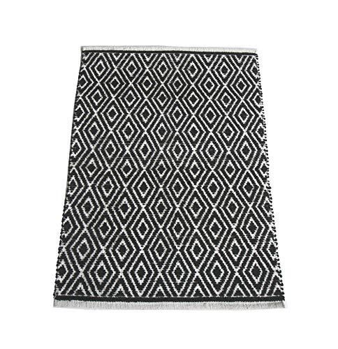 Chardin Home - 100% cotton Diamond Rug Fully reversible - Mat size 21''x34'', Machine washable