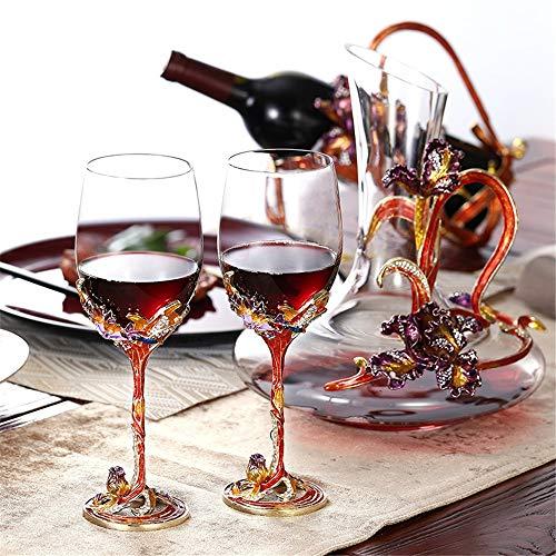 InChengGouFouX Decantador Set Decantador de Cristal Conjunto Iris Cristal Copa de Vino...