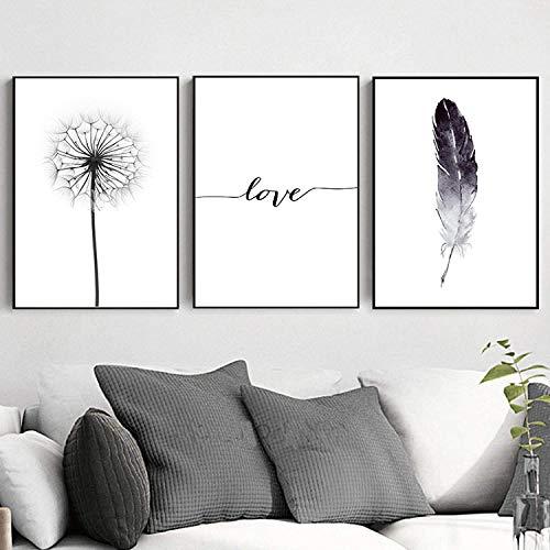 Refosian cartel de plumas de diente de león en blanco y negro e impresión de letras amor pared arte lienzo pintura hogar imagen decoración de pared 45x60cmx3 piezas sin marco