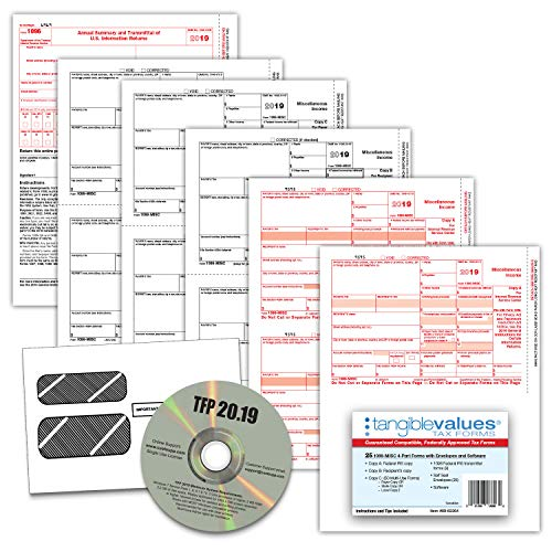 1099 Misc Tax Forms 2019 - Tangible Values 4-Part Kit with Envelopes - TPF Software Included, 25 Pack