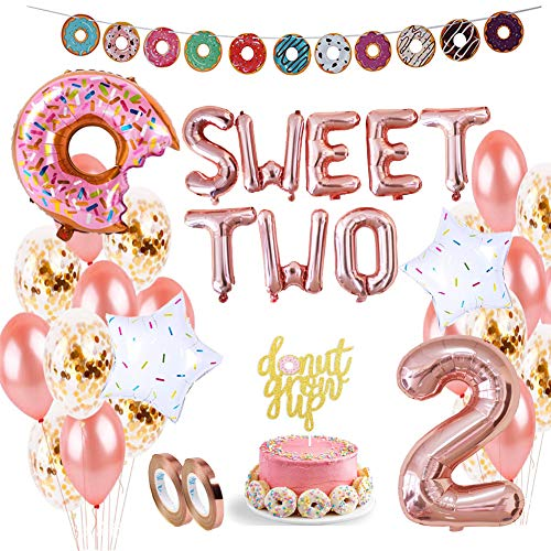 DXary Donut 2nd Birthday Party Supplies Set