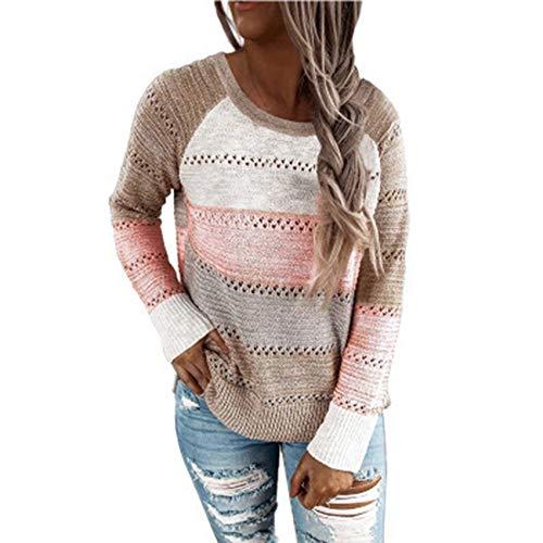 Herbst/Winter Damen Lose Gestreifte Farblich Passende Pullover Strick Bottoming Shirt Damen