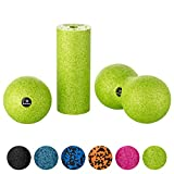 BODY MATE fascia mini-set sagar berdea - Mini-fascial rol L15xD6cm, Ball D8cm eta Duo-Ball D8cm ezarri