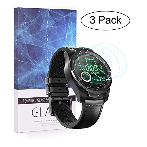 BECEMURU Ticwatch Pro Película Protetora de Vidro Temperado 9H Cobertura Completa para Ticwatch Pro Smartwatch (3 Pack)