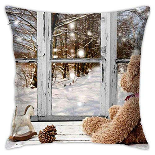 ChenZhuang Bear Doll in Front of Snow Window Cotton Linen Pillow Case Sofa Home Bedroom Car Cushion Cover Decoration 18'' x 1.