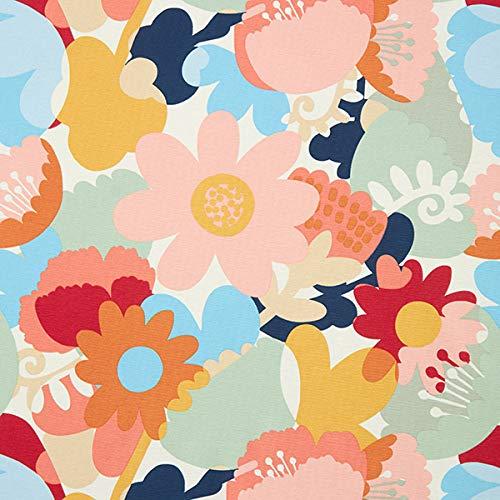 Dekostoff Canvas Floral — Meterware ab 0,5m — STANDARD 100 by OEKO-TEX® Produktklasse II — zum Nähen von Kissen/Tagesdecken, Homeaccessoires & Gardinen