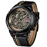 Sport Military Watches for Men Waterproof Watch Analog Quartz Leather Band Date...
