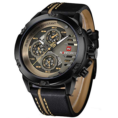 Relógio masculino esportivo militar à prova d'água, relógio analógico de quartzo, pulseira de couro, data, calendário, relógio de pulso, black+yellow+brown