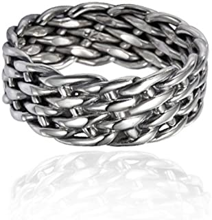 925 Sterling Silver 8 mm Wide Braided Tribal Celtic Knot Band, Nickle Free
