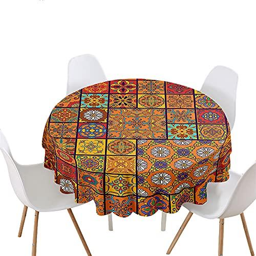 Highdi Impermeable Mantel de Redondo, Antimanchas Lavable Manteles Moderno Decoración para Salón, Cocina, Comedor, Mesa, Interior y Exterior (Redondo 180cm,Margarita)