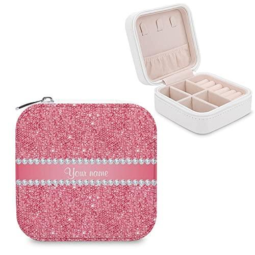 Caja de joyería para mujeres y niñas, lentejuelas rosas de imitación y diamantes pequeños de viaje de piel sintética caja de almacenamiento organizador para collares, pendientes, pulseras
