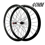 ZHTY V-Brake Rennrad-Radsatz, 700C Carbon-Rennrad 40MM Radräder Hybrid/Mountain 24-Loch 7/8/9/10/11 Speed ​​Bike Wheel
