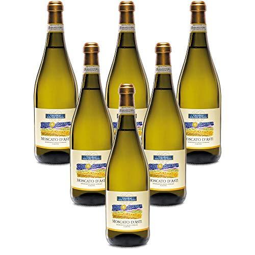 Vino espumoso italiano Moscato D'Asti DOCG Viticultori Vallebelbo Spumante dolce (6 botellas 75 cl.)