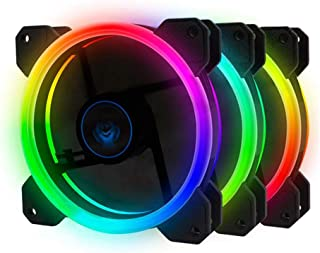 upHere 120mm Wireless RGB LED Case Fan,Quiet Edition High Airflow Adjustable Color LED Case Fan for PC Cases, CPU Coolers,Radiators system-3-Pack,R3