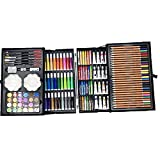 YANLAN Juego de Arte de 145 Piezas, Caja de Aluminio para Dibujo con lápices de Colores, marcadores, Pinturas de Acuarela, crayones, lápices HB, Pastel de Acuarela, Pincel,Pink