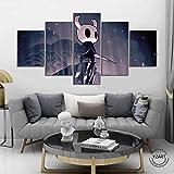 FHEWUI 5 Piezas sobre Lienzo Imagen Juego De Hollow Knight Arte De La Pared para Colgar Cuadros sobre El Lienzo Dormitorio Sala Comedor, Moderna Decoración Pintura-150 X 80 cm