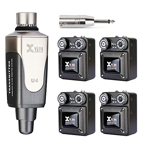 Xvive U4 Wireless in-Ear Monitor System 1 Transmitter and 4 Beltpack Receiver Personal IEM for Studio, Band Rehearsal,Live Performance,Camera Record