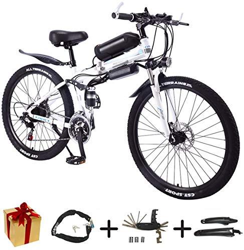BIKE Electric Mountain Bike, Folding E-Bike - 26 inch Wheel Electric Bike Aluminum Alloy 36V Mountain Cycling Bicycle, Shimano 21-Speed for Adults White-50Km,White,50Km