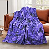 LELEMATE Purple Weed Leaves Throw Blanket Soft Lightweight Flannel Blanket Fuzzy Sofa Fleece Blanket for Use in Bed Living Room Home Beachh Couch Travel 50'x40' for Kid Baby