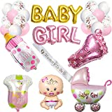 JoyBo Baby Shower Decorations For Girl,It is a Girl Baby Shower Decoration,Girl Baby Foil Balloon Banner,Mummy to Be Sash,Luxury Large Foil Balloon set,Perfect Girl Baby Shower Decorations(Pink)