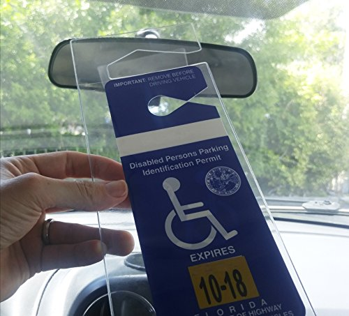 2 Pack - Clear Handicap Parking Placard Protective Holder - Rear View Mirror Disability Permit Hanger - Hard Flexible Plastic Construction - by Specialist ID Photo #7