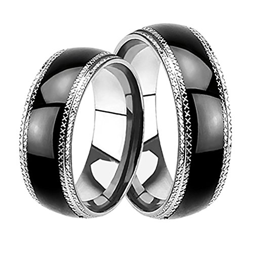 LaRaso & Co His and Hers Black Wedding Rings Set Matching Wedding Bands Ring Set for Him and Her
