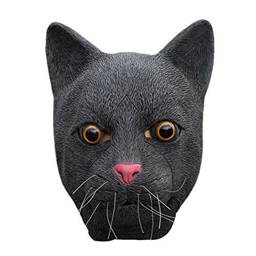 KESYOO Máscara de fiesta de Halloween Máscara de látex de gato negro Horror Divertido Sombrero Máscara de cara completa para el banquete de disfraces de Halloween (negro)